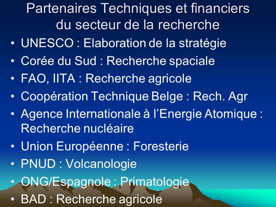 Partenaires Techniques et financiers du secteur de la recherche