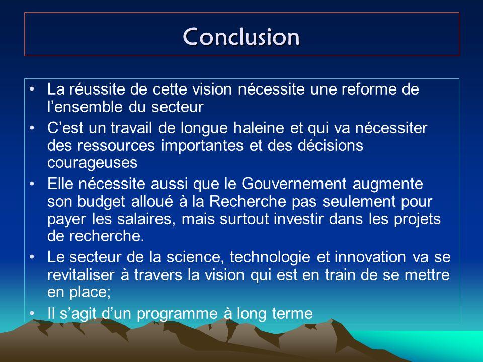 Conclusion La réussite de cette vision nécessite une reforme de l'ensemble du secteur.