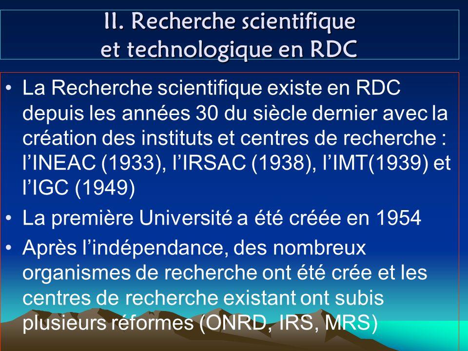 II. Recherche scientifique et technologique en RDC
