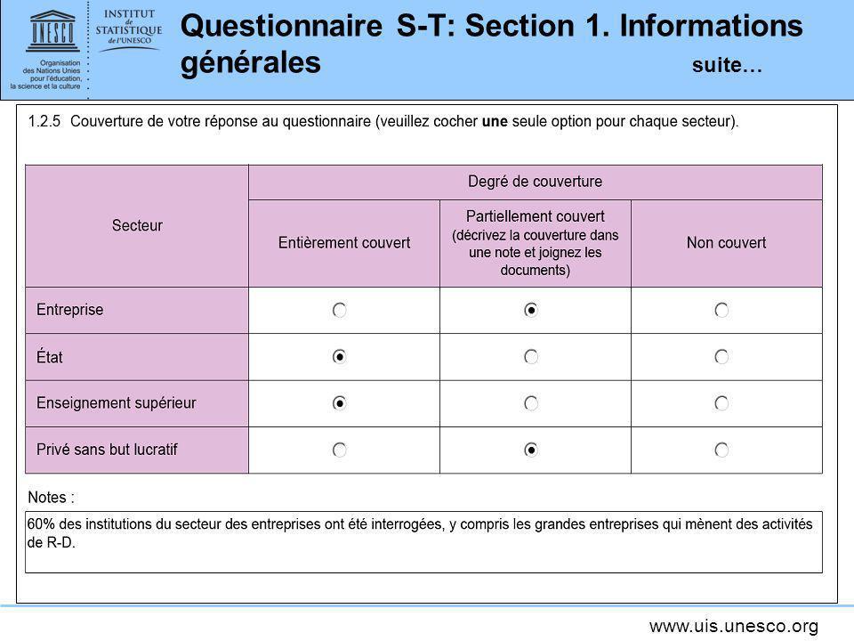 Questionnaire S-T: Section 1. Informations générales suite…