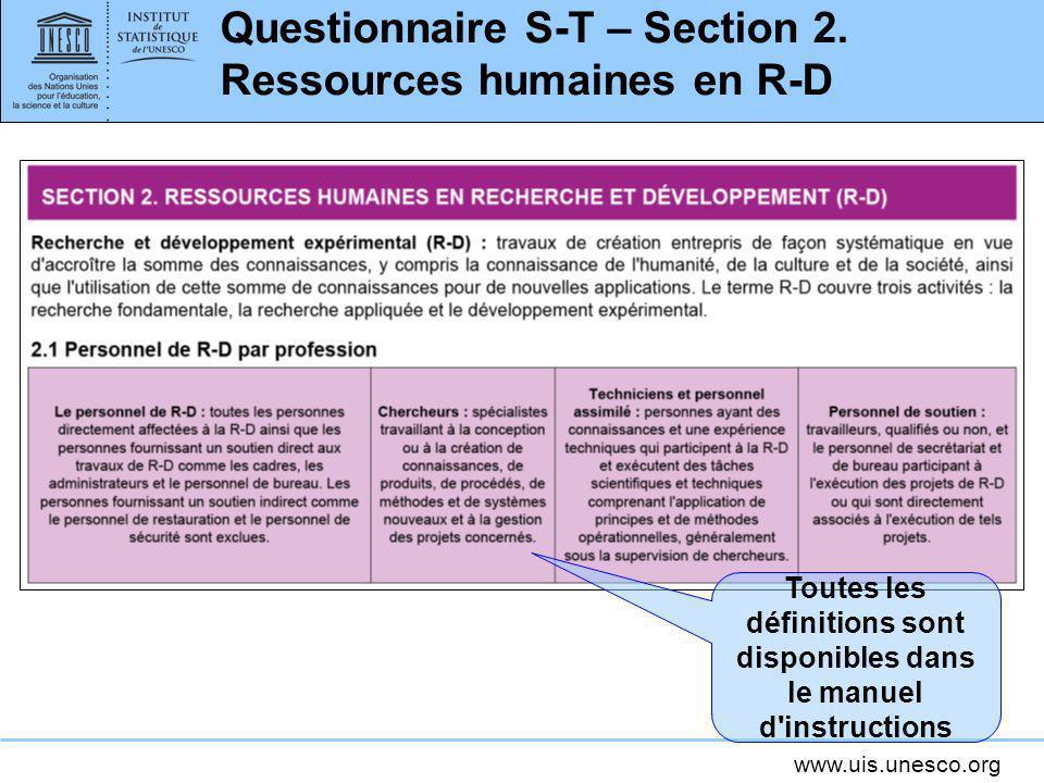 Questionnaire S-T – Section 2. Ressources humaines en R-D