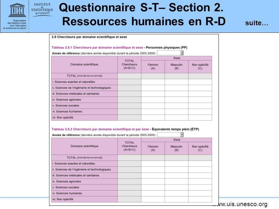 Questionnaire S-T– Section 2. Ressources humaines en R-D suite…