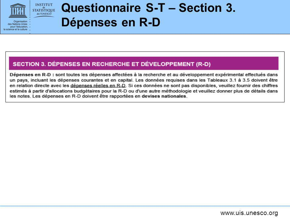 Questionnaire S-T – Section 3. Dépenses en R-D