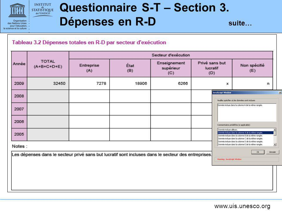 Questionnaire S-T – Section 3. Dépenses en R-D suite…