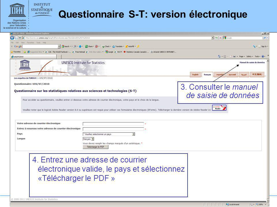 Questionnaire S-T: version électronique