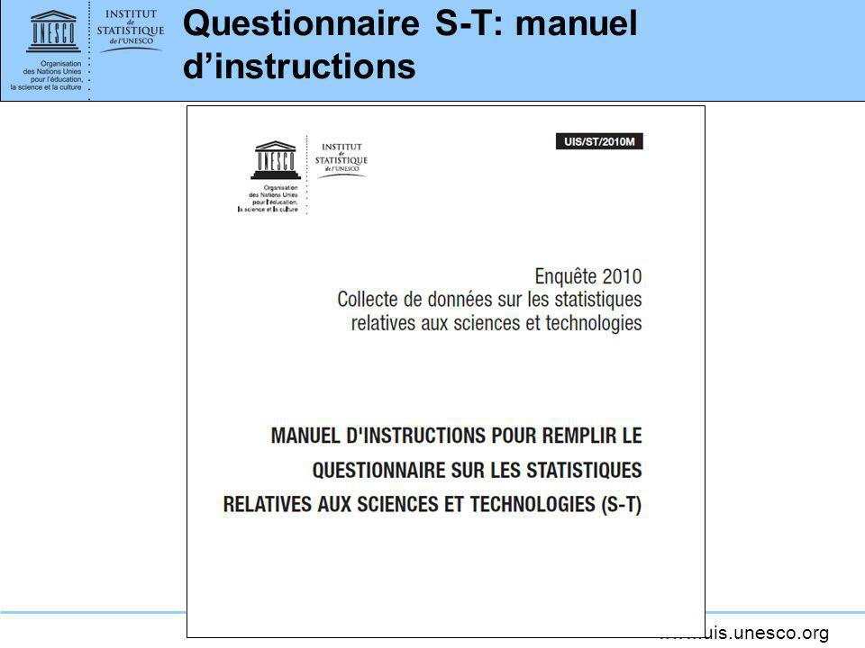 Questionnaire S-T: manuel d'instructions