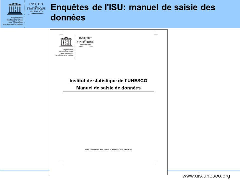 Enquêtes de l ISU: manuel de saisie des données