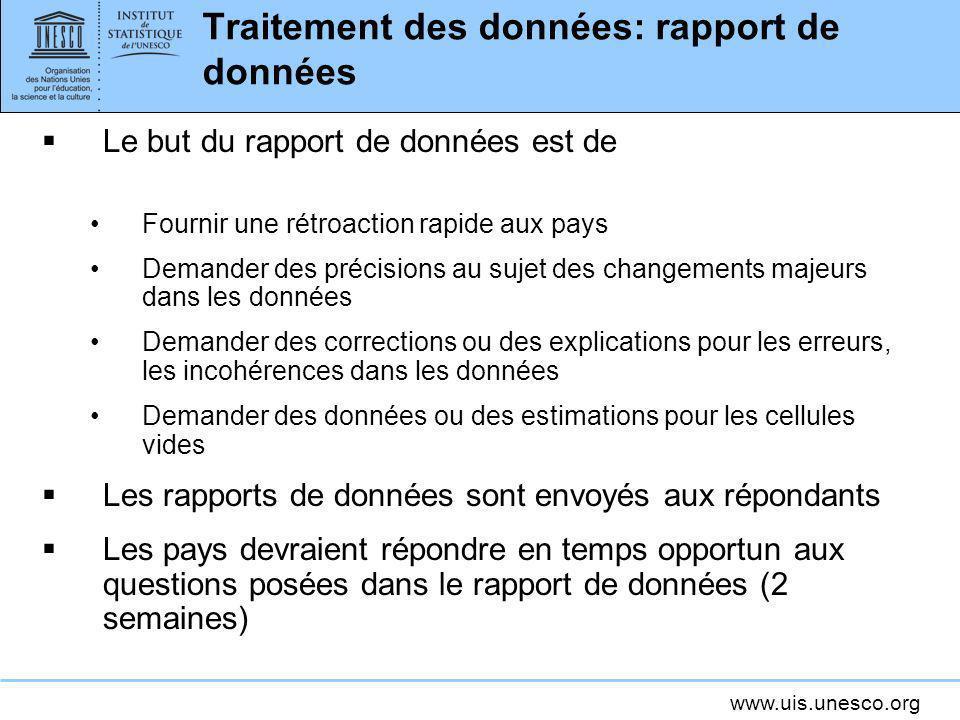 Traitement des données: rapport de données