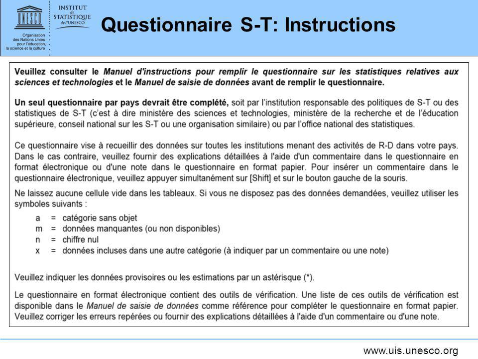 Questionnaire S-T: Instructions