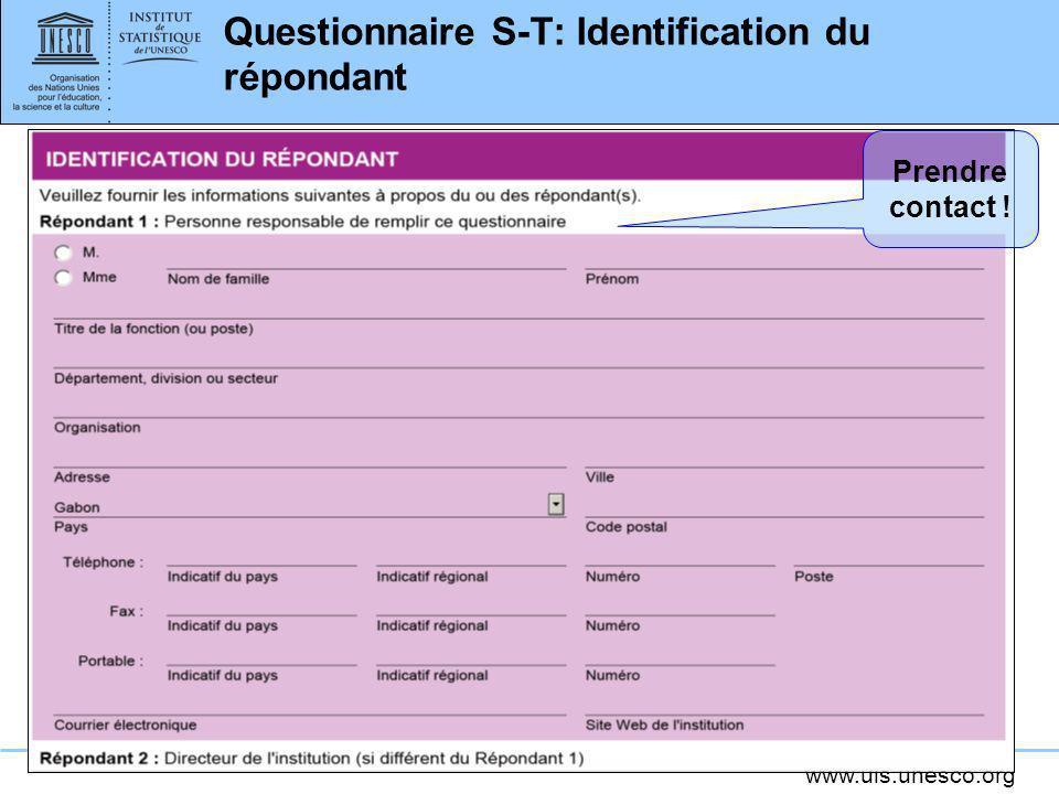 Questionnaire S-T: Identification du répondant