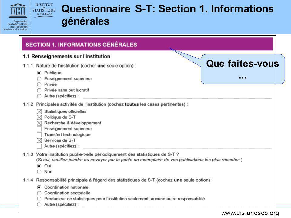 Questionnaire S-T: Section 1. Informations générales