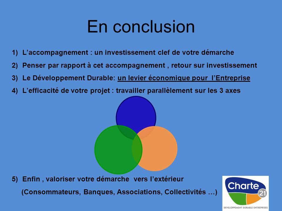 En conclusion L'accompagnement : un investissement clef de votre démarche. Penser par rapport à cet accompagnement , retour sur investissement.