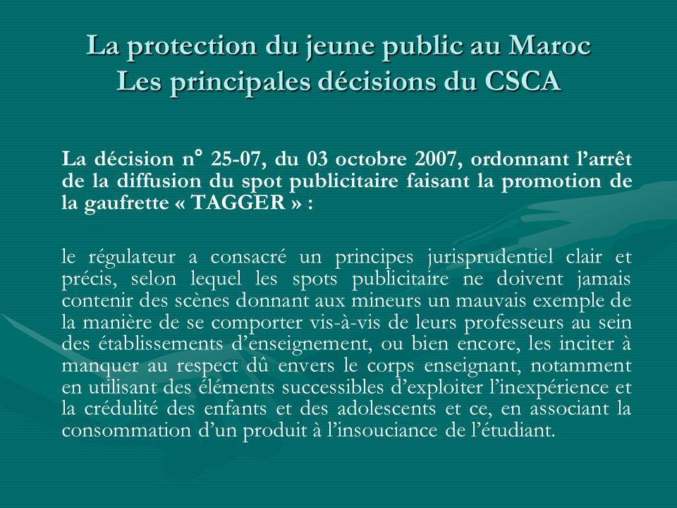 La protection du jeune public au Maroc Les principales décisions du CSCA