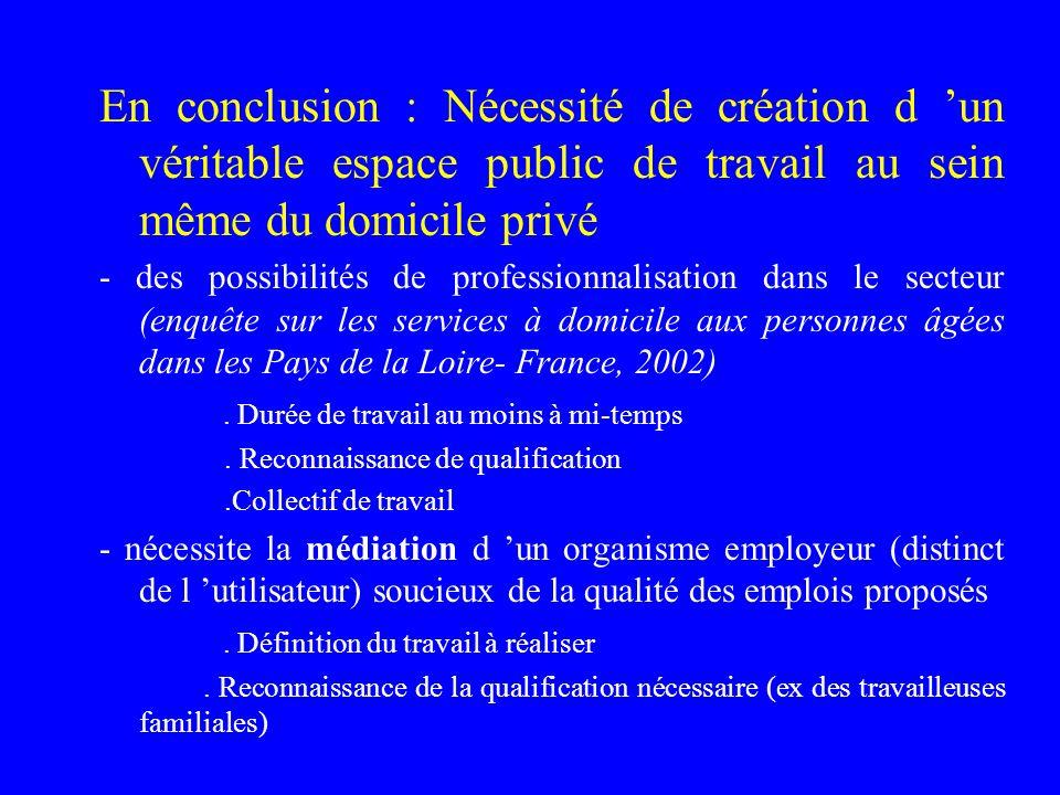 En conclusion : Nécessité de création d 'un véritable espace public de travail au sein même du domicile privé