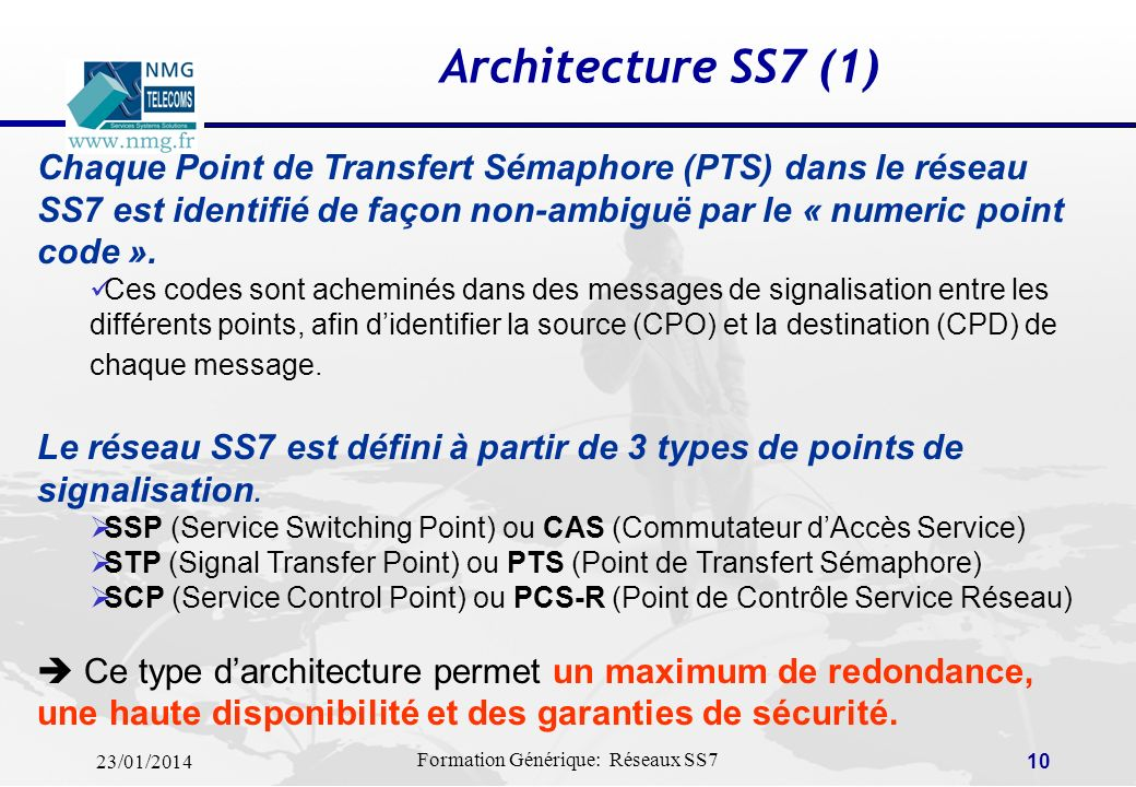Architecture SS7 (1) Chaque Point de Transfert Sémaphore (PTS) dans le réseau SS7 est identifié de façon non-ambiguë par le « numeric point code ».