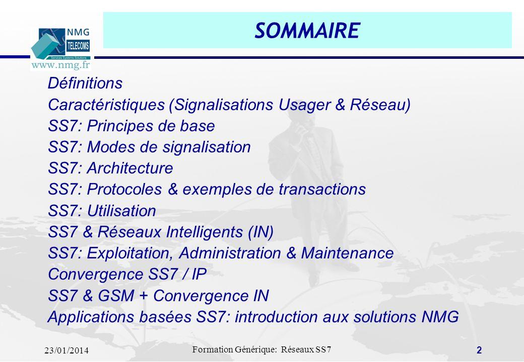 SOMMAIRE Définitions Caractéristiques (Signalisations Usager & Réseau)