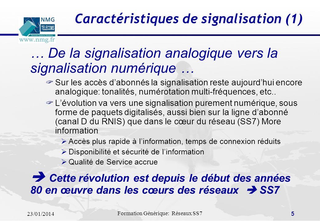 Caractéristiques de signalisation (1)