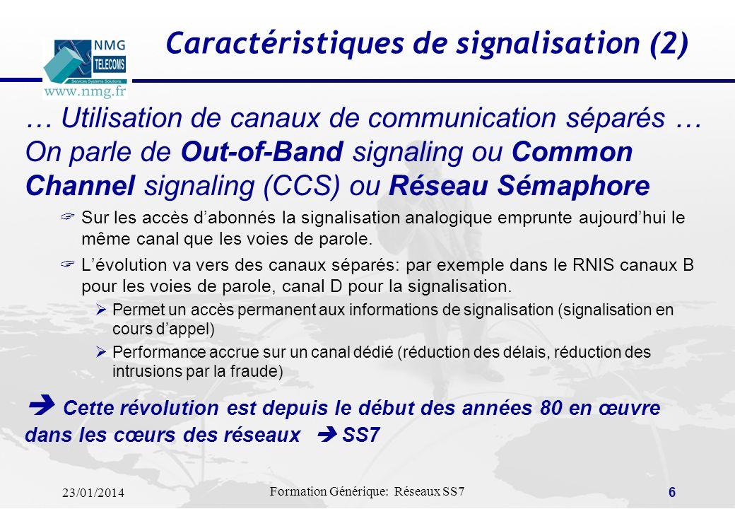 Caractéristiques de signalisation (2)