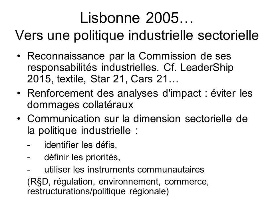 Lisbonne 2005… Vers une politique industrielle sectorielle