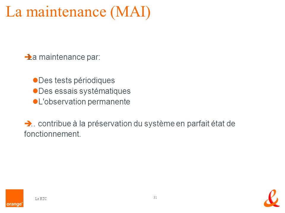 La maintenance (MAI) La maintenance par: Des tests périodiques