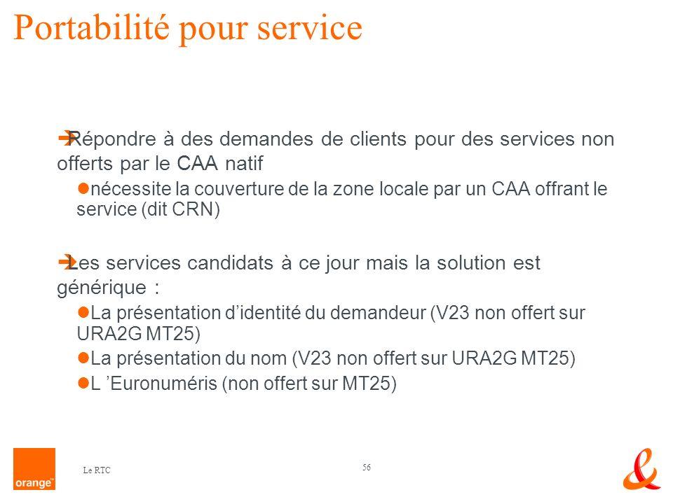 Portabilité pour service