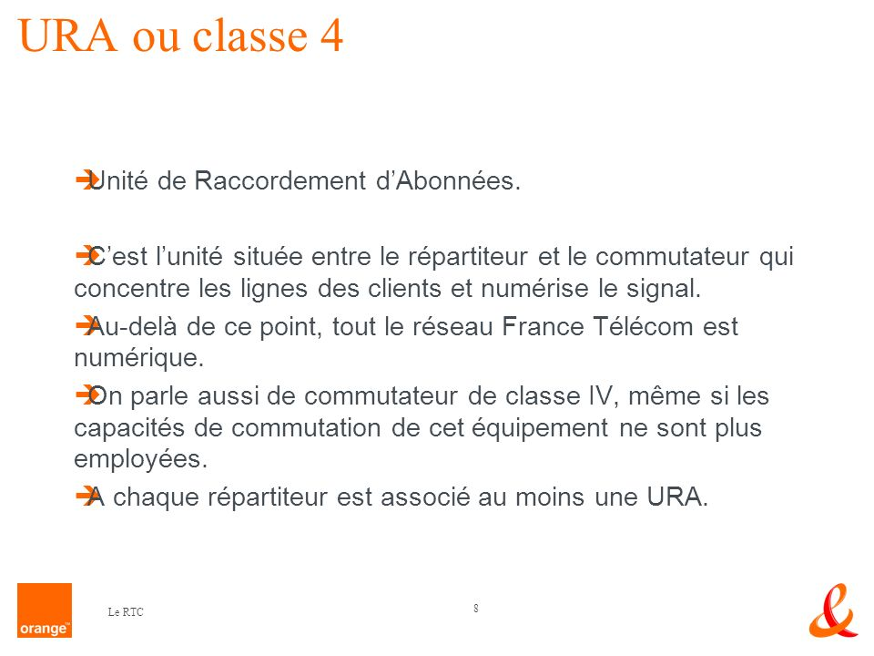 URA ou classe 4 Unité de Raccordement d'Abonnées.