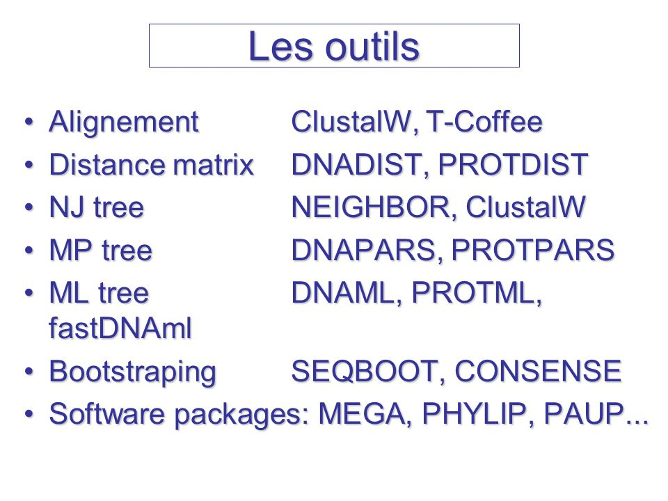 Les outils Alignement ClustalW, T-Coffee
