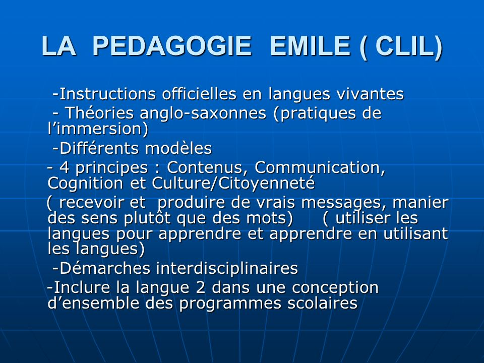 LA PEDAGOGIE EMILE ( CLIL)