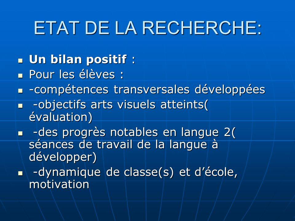 ETAT DE LA RECHERCHE: Un bilan positif : Pour les élèves :