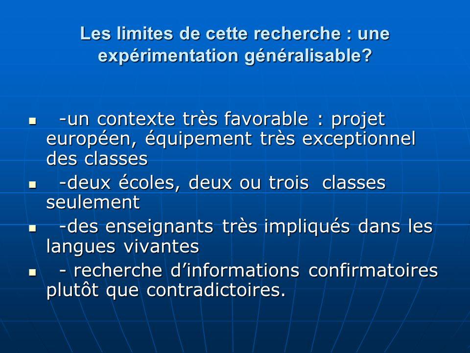 Les limites de cette recherche : une expérimentation généralisable