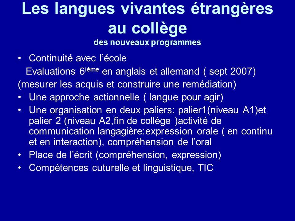 Les langues vivantes étrangères au collège des nouveaux programmes
