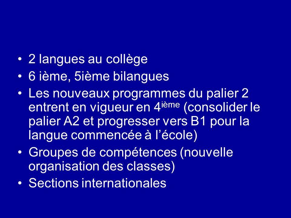 2 langues au collège 6 ième, 5ième bilangues.