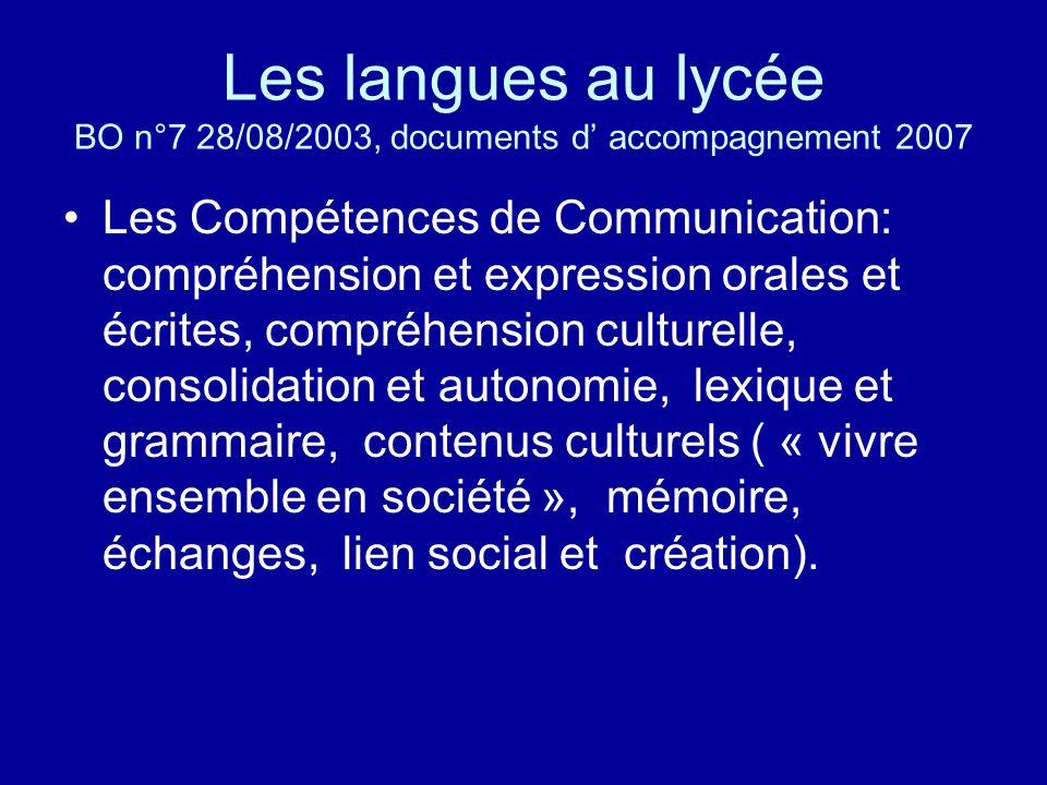 Les langues au lycée BO n°7 28/08/2003, documents d' accompagnement 2007