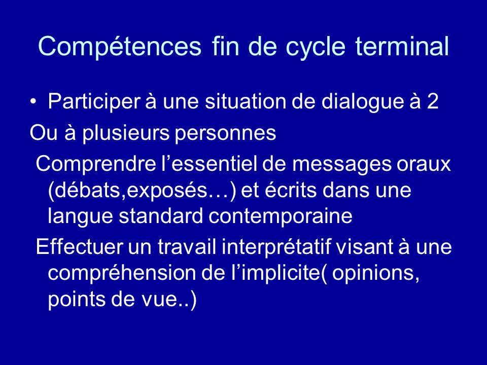 Compétences fin de cycle terminal