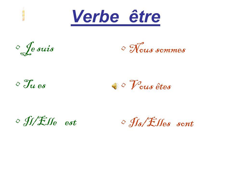 Verbe être verbe etre Je suis Nous sommes Tu es Vous êtes Il/Elle est