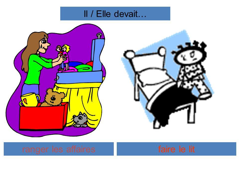 Il / Elle devait… ranger les affaires faire le lit