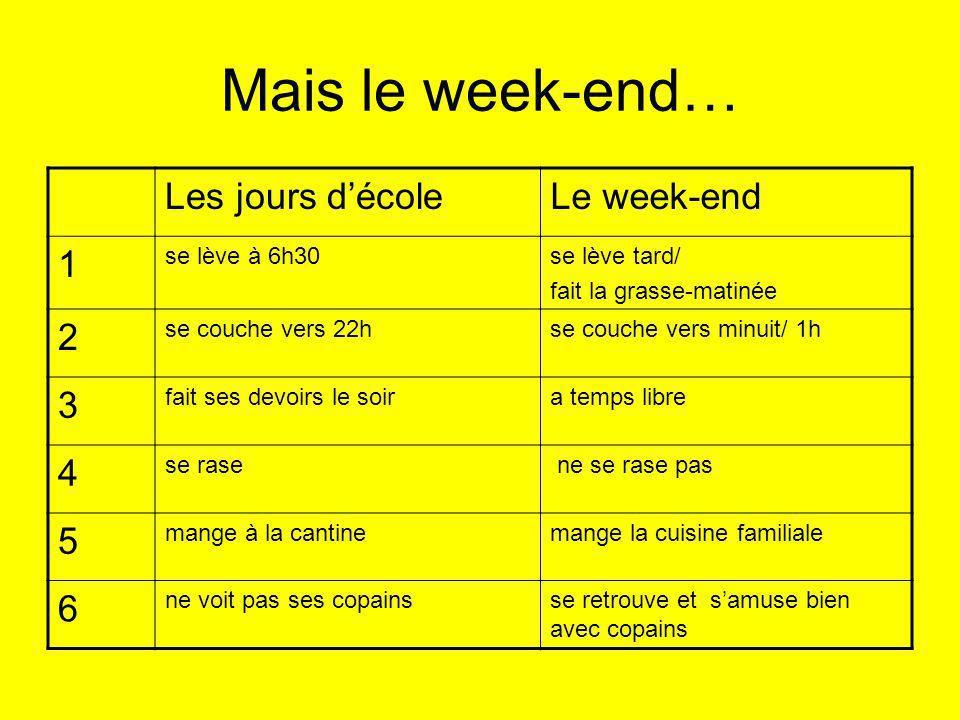 Mais le week-end… Les jours d'école Le week-end 1 2 3 4 5 6