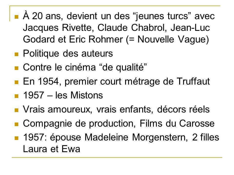 À 20 ans, devient un des jeunes turcs avec Jacques Rivette, Claude Chabrol, Jean-Luc Godard et Eric Rohmer (= Nouvelle Vague)