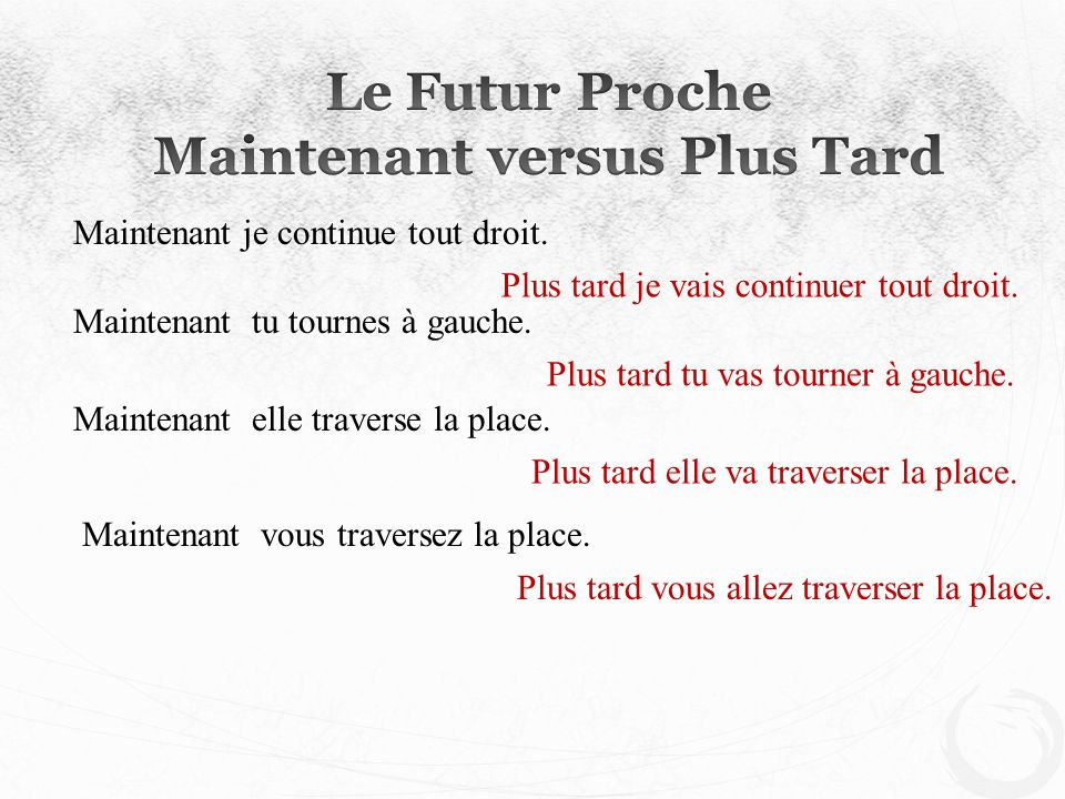 Maintenant versus Plus Tard