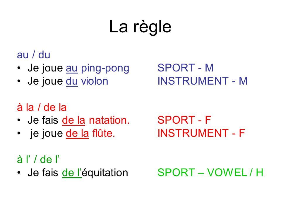 La règle au / du Je joue au ping-pong SPORT - M