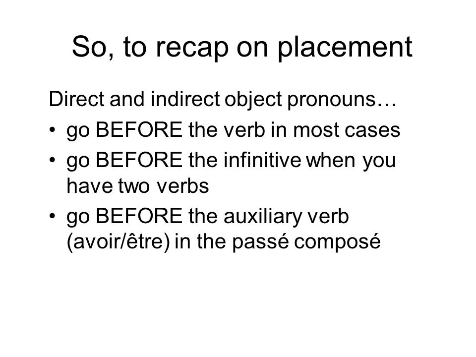So, to recap on placement