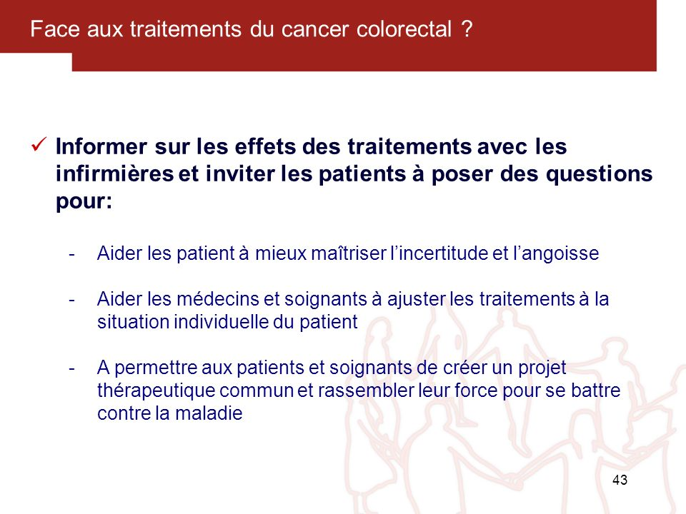 Face aux traitements du cancer colorectal