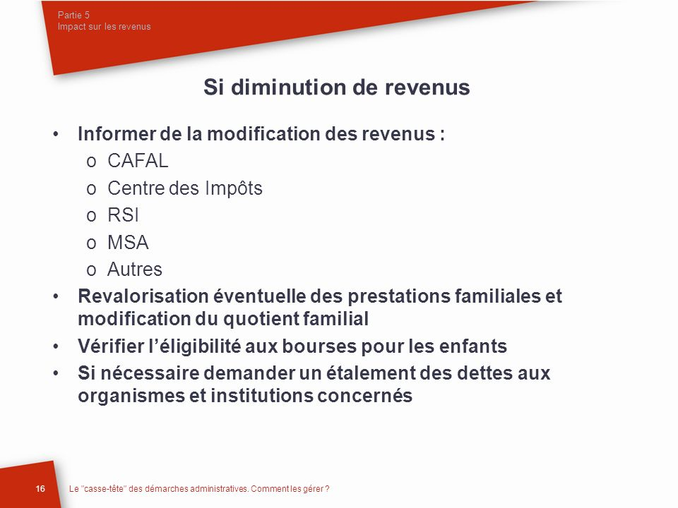Partie 5 Impact sur les revenus