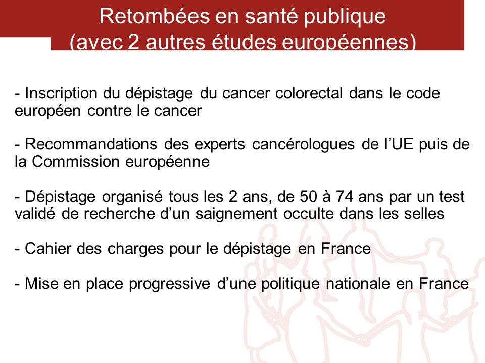 Retombées en santé publique (avec 2 autres études européennes)