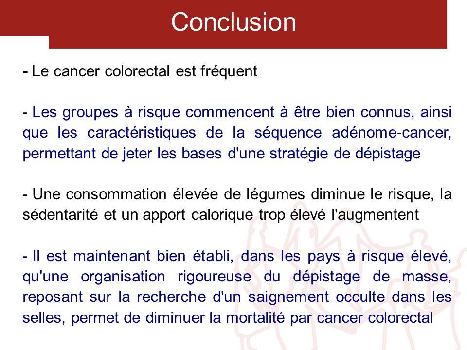 Conclusion - Le cancer colorectal est fréquent