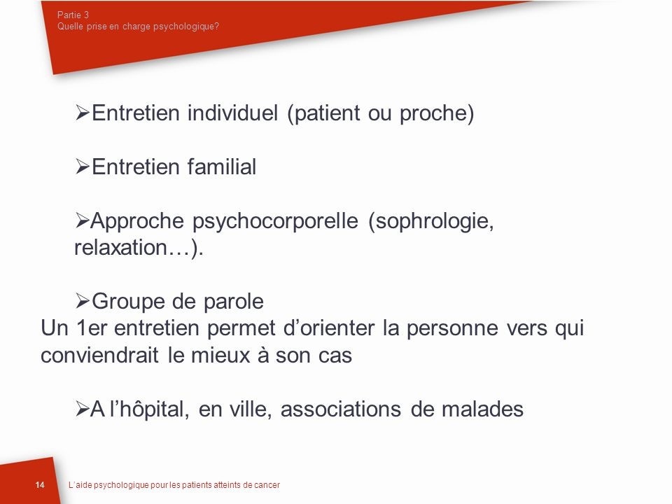 Partie 3 Quelle prise en charge psychologique