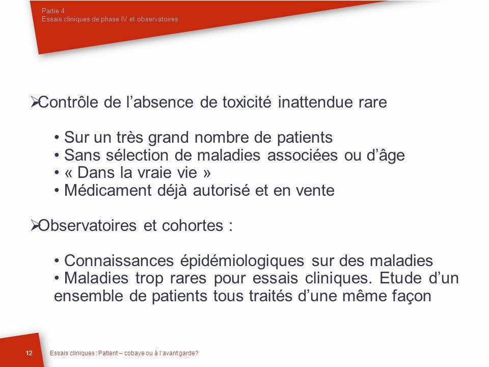 Partie 4 Essais cliniques de phase IV et observatoires