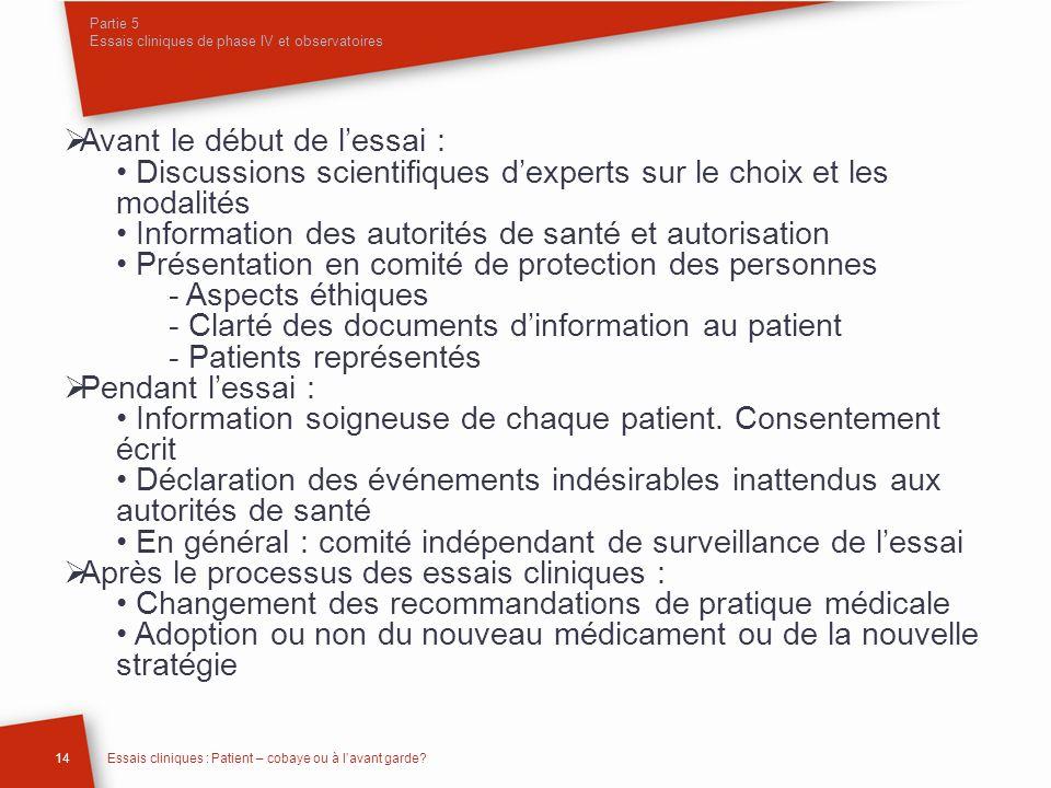 Partie 5 Essais cliniques de phase IV et observatoires