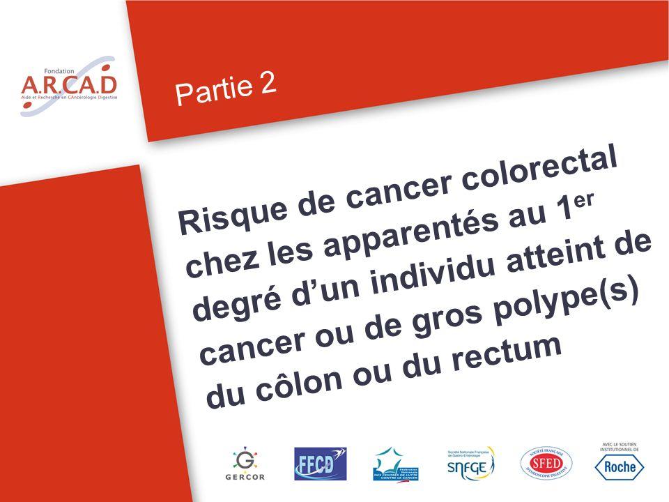 Partie 2 Risque de cancer colorectal chez les apparentés au 1er degré d'un individu atteint de cancer ou de gros polype(s) du côlon ou du rectum.