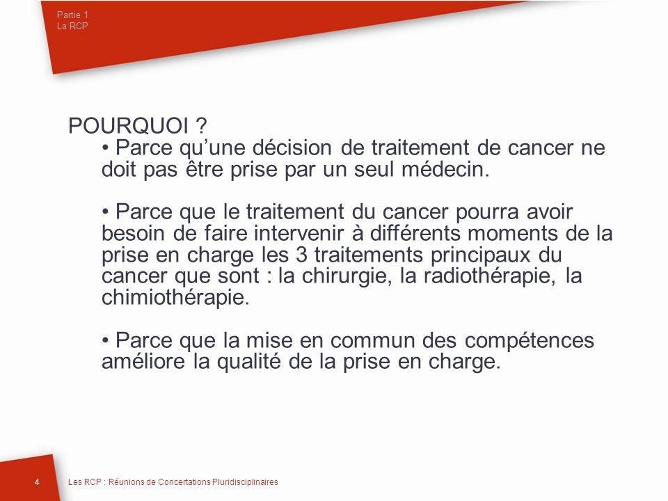 Partie 1 La RCP POURQUOI Parce qu'une décision de traitement de cancer ne doit pas être prise par un seul médecin.